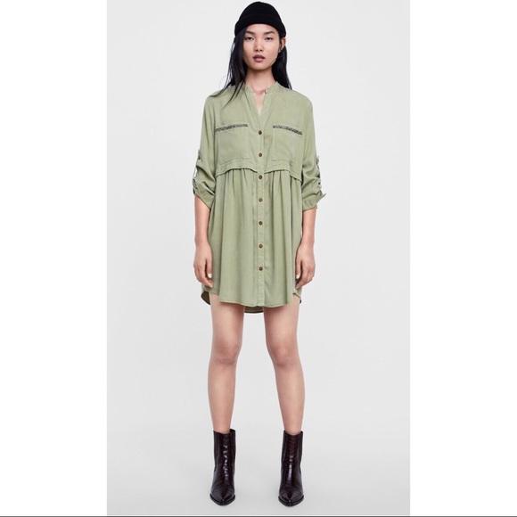 032647fc Zara Dresses | Khaki Shirt Dress | Poshmark